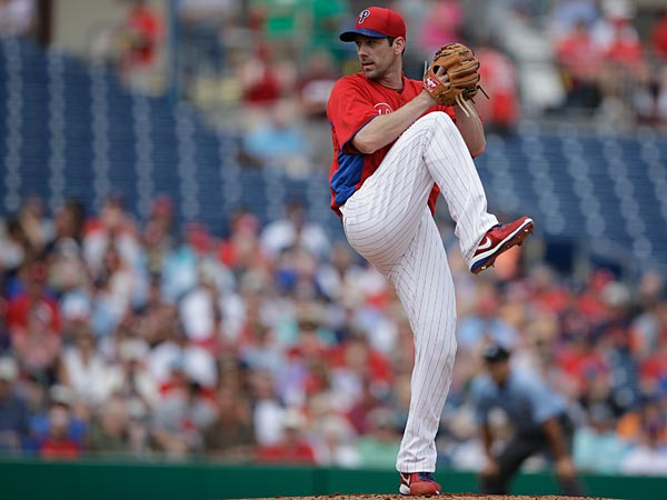 Philadelphia Phillies´ Cliff Lee in action during an spring training exhibition baseball game against the Detroit Tigers, Monday, Feb. 25, 2013, in Clearwater, Fla. (AP Photo/Matt Slocum)