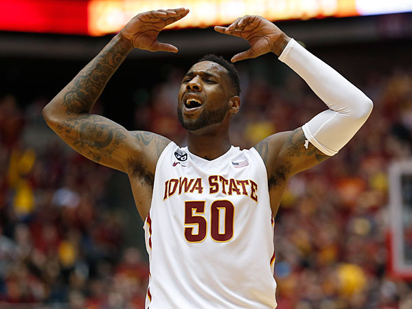 Iowa State guard DeAndre Kane tries to get the crowd pumped up during the second half of an NCAA college basketball game against West Virginia in Ames, Iowa, Wednesday, Feb. 26, 2014. Iowa State won 83-66. (Justin Hayworth/AP)