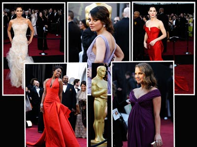 From left, Halle Berry, Jennifer Hudson, Mila Kunis, Natalie Portman and Sandra Bullock on the red carpet. (AP Photos)