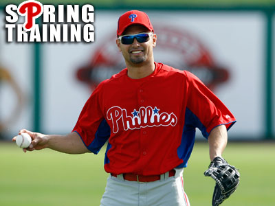 Shane Victorino holds the baseball during spring training<br />workouts in Clearwater. (Yong Kim / Staff Photographer)