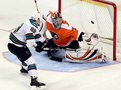 Flyers goalie Sergei Bobrovsky can´t stop the shot of Sharks Ryan Clowe during a 2010 shootout. (Steven M. Falk/Staff Photographer)