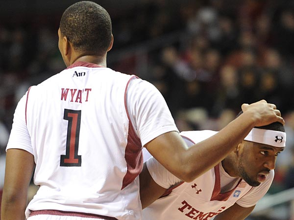 Temple basketball players Khalif Wyatt and Anthony Lee. (Clem Murray/Staff Photographer)