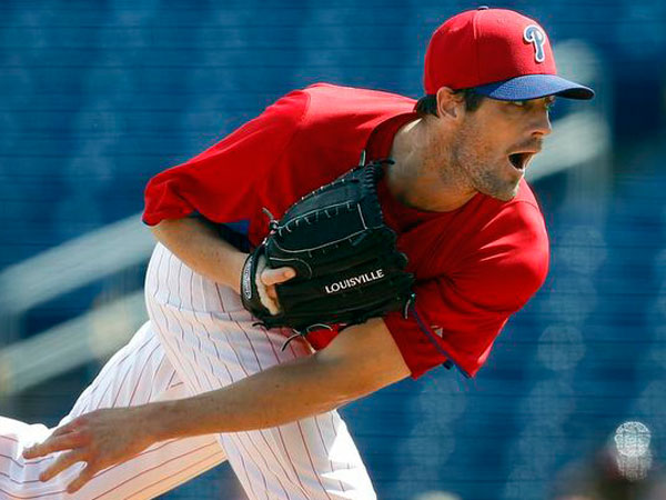 Cole Hammels pitches during the 1st inning as the Phillies play the Atlanta Braves in Clearwater, FL on February 28, 2013. (David Maialetti/Staff Photographer)