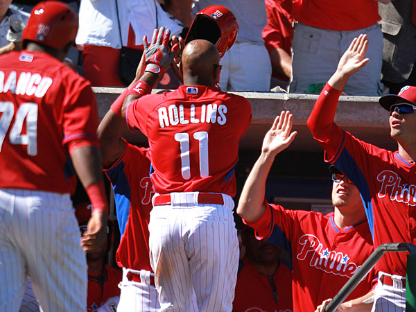 Phillies´ Jimmy Rollins hits a three run homer in the third inning. (David Swanson/Staff Photographer)