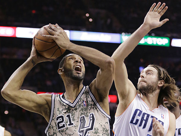 Spurs´ Tim Duncan (21) looks to shoot as he is defended by Charlotte Bobcats´ Josh McRoberts (11) during the first half of an NBA basketball game, Friday, Feb. 28, 2014, in San Antonio. (Eric Gay/AP)