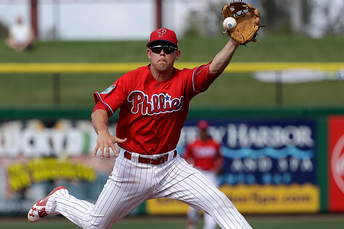 Scott Kingery in action during spring training.