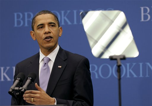 President Barack Obama speaks  on the economy at the Brookings Institution in Washington, Tuesday, Dec.  8, 2009.(AP Photo/Susan Walsh)<br />