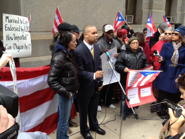 City Councilwoman Maria Quinones-Sanchez, former Councilman Angel Ortiz and many members of the city's Puerto Rican community showed up to rally support for Aida Guzman, who was hit by then-Lt. Jonathan Josey at the Puerto Rican Day Parade in September.