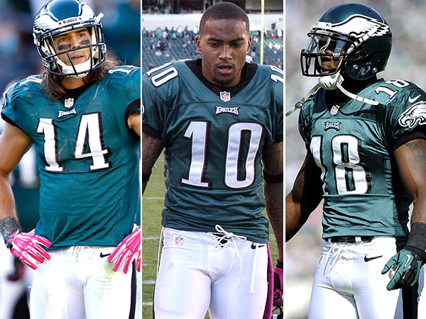 Riley Cooper, DeSean Jackson, and Jeremy Maclin. (Staff and AP Photos)