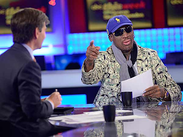 Dennis Rodman, the ex-NBA player who has five championship rings, traveled to North Korea, along with three Harlem Globetrotters and a film crew to conduct some youth basketball clinics. (Lorenzo Bevilacqua/AP)
