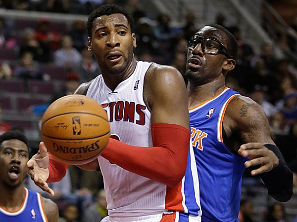 Pistons center Andre Drummond is guarded by Knicks forward Amar´e Stoudemire. (Carlos Osorio/AP)