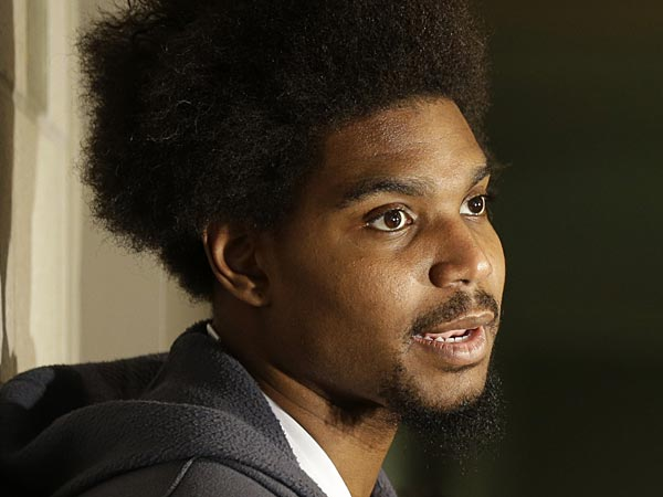 Philadelphia 76ers&acute; Andrew Bynum speaks to members of the media at the<br />team&acute;s NBA training facility Friday, March 1, 2013, in Philadelphia.<br />(AP Photo/Matt Rourke)