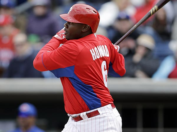 Philadelphia Phillies&acute; Ryan Howard follows through after hitting a<br />three-run home run off Toronto Blue Jays&acute; Brett Cecil during the fifth<br />inning of a spring training exhibition baseball game on Sunday, March<br />3, 2013, in Clearwater, Fla. Philadelphia won 13-5. (AP Photo/Matt<br />Slocum)