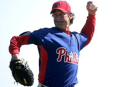 Jamie Moyer will be competing with Kyle Kendrick for the fifth spot in the rotation. (David Swanson / Staff Photographer)