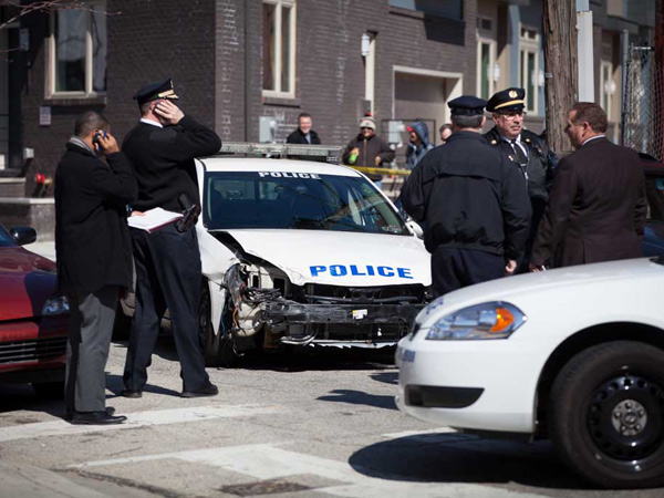A woman stole a police cruiser in Camden and took police on a wild chase into North Philadelphia. (Photo courtesy of Rocco Avallone)
