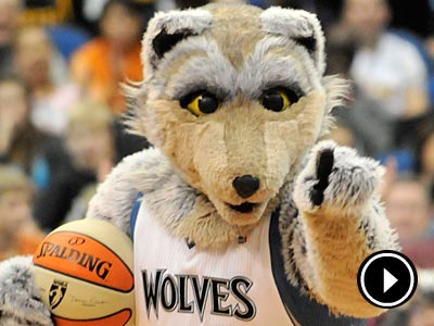 Minnesota Timberwolves mascot Crunch during the second half of an NBA basketball game Friday, Nov. 19, 2010 in Minneapolis. The Lakers won 112-95. (AP Photo/Jim Mone)