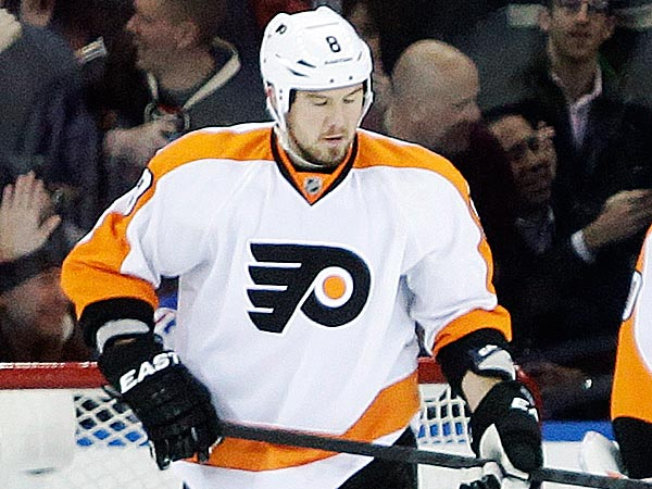 Flyers defenseman Nicklas Grossmann suffered a lower-body injury in Tuesday´s game against the Rangers and will not return. (Frank Franklin II/AP)