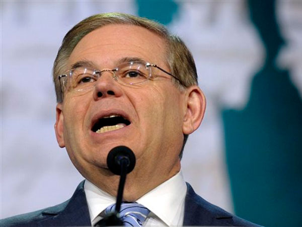 FILE - In this March 5, 2013 file photo, Senate Foreign Relations Committee Chairman Sen. Robert Menendez, D-N.J. speaks in Washington. The murky allegations involving Menendez, one of his top donors and prostitutes in the Dominican Republic have twisted in confusing directions this week. (Susan Walsh / Associated Press)