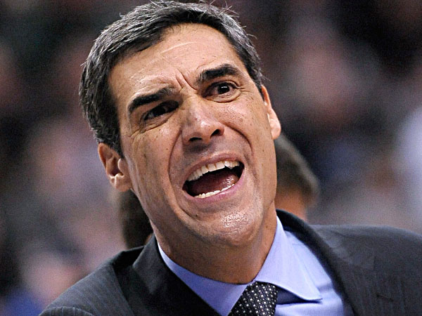 Jay Wright argues a foul call during the second half of an NCAA college basketball game against Georgetown, Wednesday, March 6, 2013, in Philadelphia. Villanova won 67-57. (Michael Perez/AP)