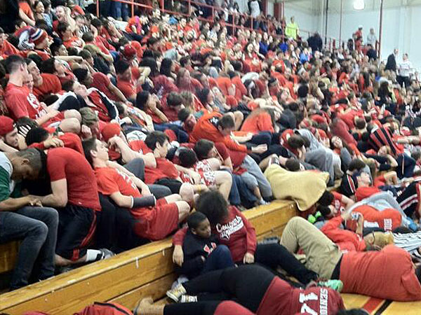 Cherry Hill East students take a nap during the introductions for Cherry Hill West. (Phil Anastasia/Staff)