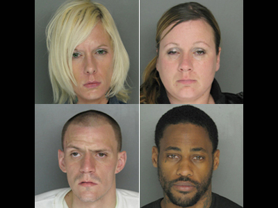 Clockwise, from top left, Lisa Sourbrine, Jennifer Partington, Tariq Martin and John Taimanglo have all been arrested in a dating robbery scheme.