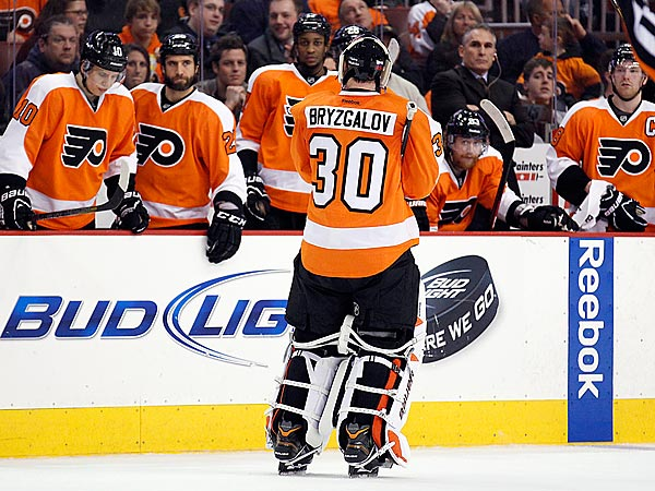 Flyers´ goalie Ilya Bryzgalov skates off the ice after getting pulled. (Yong Kim/Staff Photographer)