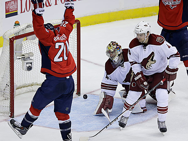 Capitals right wing Troy Brouwer celebrates his goal as Coyotes goalie Mike Smith and Zbynek Michalek react. (Carolyn Kaster/AP)