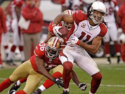 Cardinals wide receiver Larry Fitzgerald denies that he´s encouraged management to pursue Kevin Kolb. (AP Photo / Paul Sakuma)