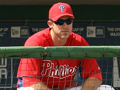 Chase Utley has been watching his teammates play since spring training began two weeks ago. (Yong Kim/Staff Photographer)