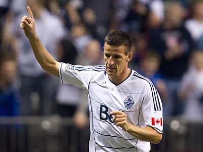 Former Union forward Sébastien Le Toux scored in his first game for the Vancouver Whitecaps. (Darryl Dyck/The Canadian Press/AP)