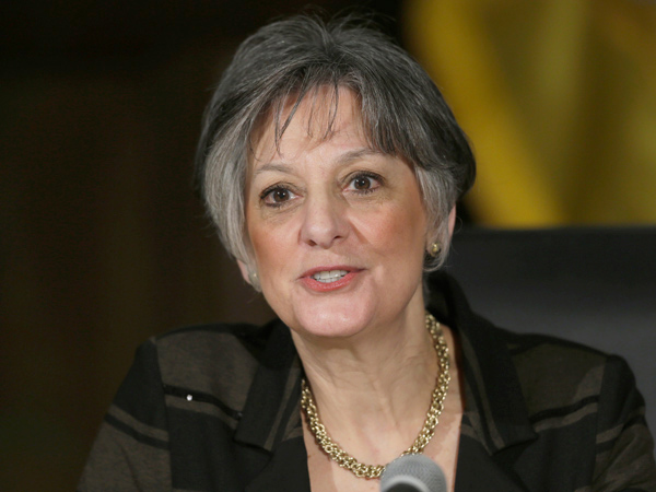 Gubernatorial candidate Allyson Y. Schwartz , shown speaking at last year´s Democratic convention, is the only woman in Pennsylvania´s congressional delegation.