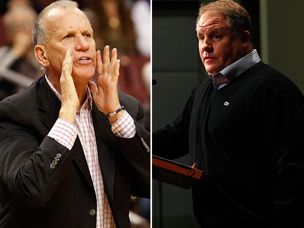 New Eagles head coach made a stop in the Sixers´ locker room before Nets game to talk with coach Doug Collins. (Staff file photos)