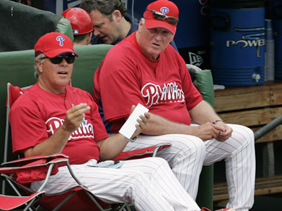 Pete Mackanin (left) is under consideration for the Red Sox managerial opening. (Eric Mencher / Staff Photographer)