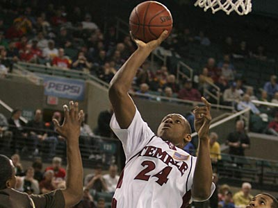 Lavoy Allen shoots during the first half of today´s A-10 tournament quarterfinal game. (Yong Kim / Staff Photographer)