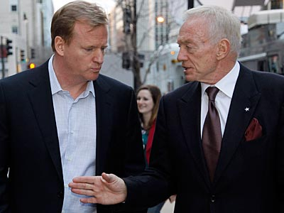 NFL Commissioner Roger Goodell and Cowboys owner Jerry Jones leave negotiations Friday night. (Alex Brandon/AP Photo)