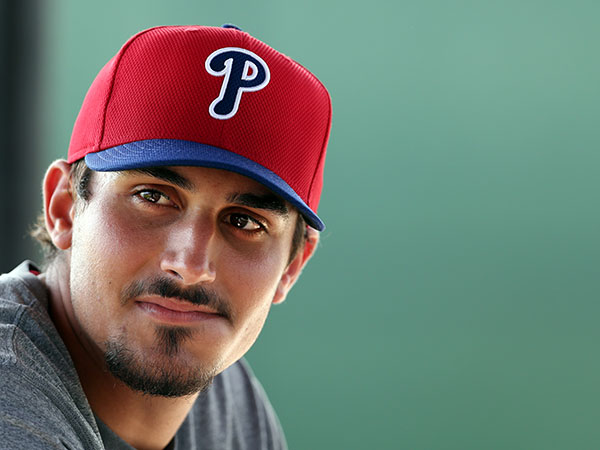 The Phillies minor league player Zach Eflin waits to pitch during the<br />morning workout session at Phillies spring training in Clearwater, Fla.<br />on March 10, 2015. (David Maialetti/Staff Photographer)