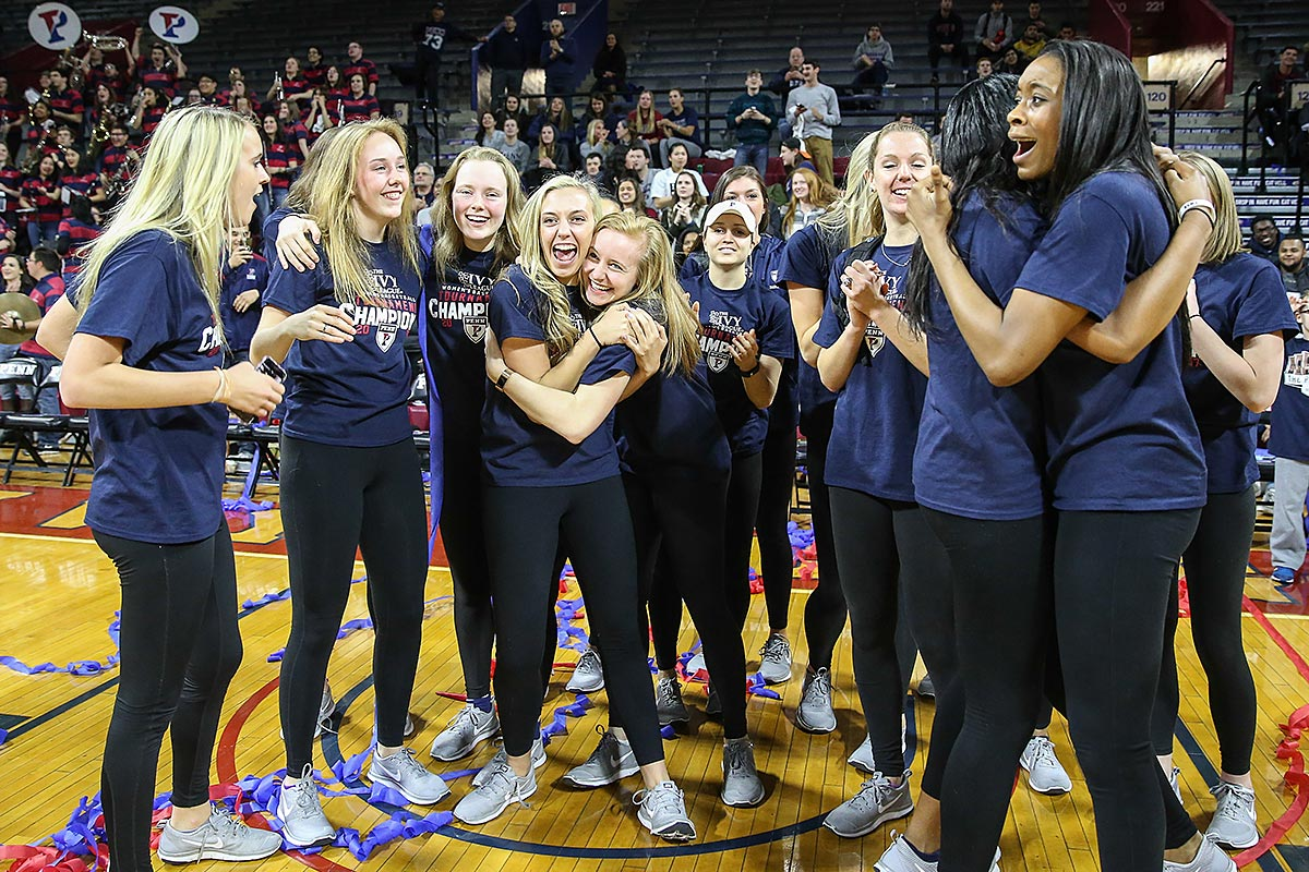 The Penn women´s basketball team celebrate receiving a bid into the NCAA tournament.