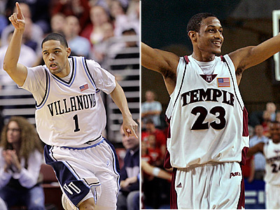 Villanova´s Scottie Reynolds and Temple´s Ramone Moore have helped get their teams into the NCAA Tournament. (AP photos)