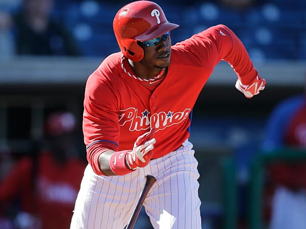 Philadelphia Phillies´ Domonic Brown in action during a spring training exhibition baseball game against the Minnesota Twins, Thursday, March 7, 2013, in Clearwater, Fla. (AP Photo/Matt Slocum)