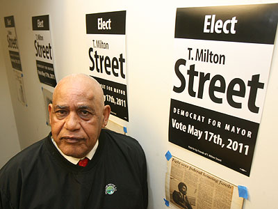 """T. Milton Street Sr. plans to """"campaign the old-fashioned way"""" to oust Mayor Nutter. His campaign office is at 1211 Vine St. (Sarah J. Glover / Staff Photographer)"""