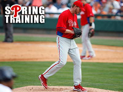 Phillies ace Roy Halladay has a 10.57 ERA in three spring starts. (David Maialetti / Staff Photographer)