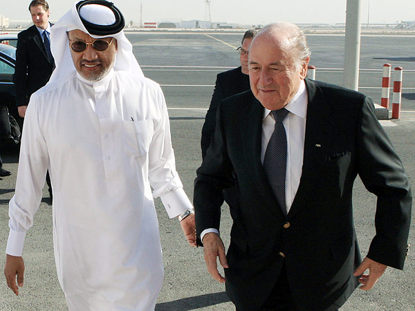 FIFA president Sepp Blatter (right) with former Asian Football Confederation president Mohammed bin Hammam, who helped bring the 2022 World Cup to Qatar. (AP file photo)