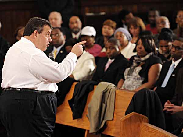 Gov. Christie hosted a town hall meeting in Paterson last week. (AP Photo/The Record of Bergen County, Tyson Trish)