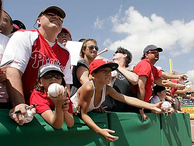 Phillies fans await autographs before a spring training game in Clearwater, Florida. (Yong Kim/Staff Photographer)