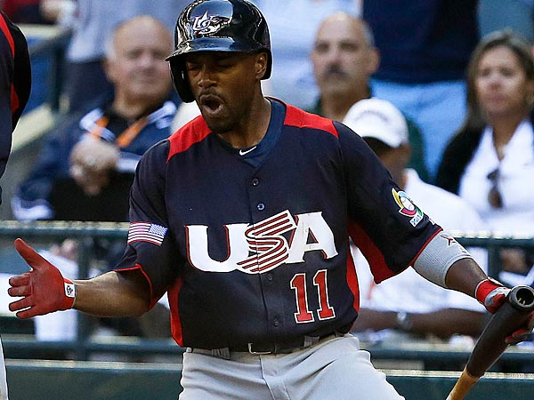 Jimmy Rollins played shortstop for the U.S. team in the World Baseball Classic. (AP Photo/Ross D. Franklin)