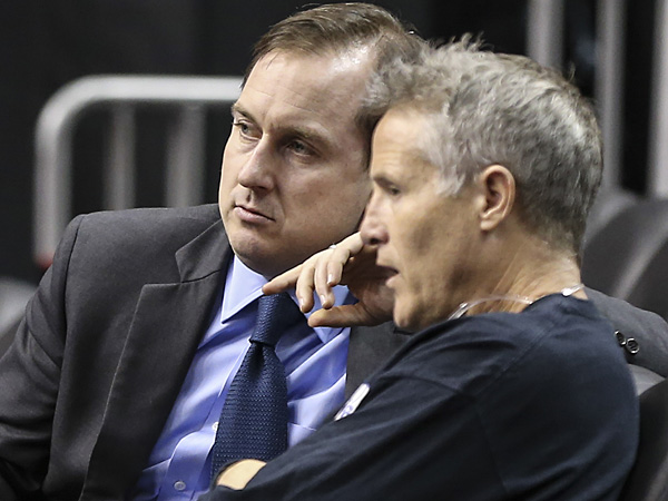 Sixers general manager Sam Hinkie (left) and head coach Brett Brown. (Steven M. Falk/Staff Photographer)