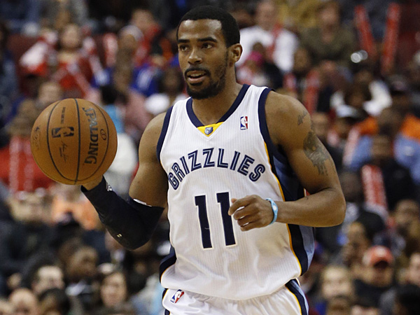 Grizzlies guard Mike Conley dribbles the ball up court during the<br />first half against the 76ers. (Matt Slocum/AP)