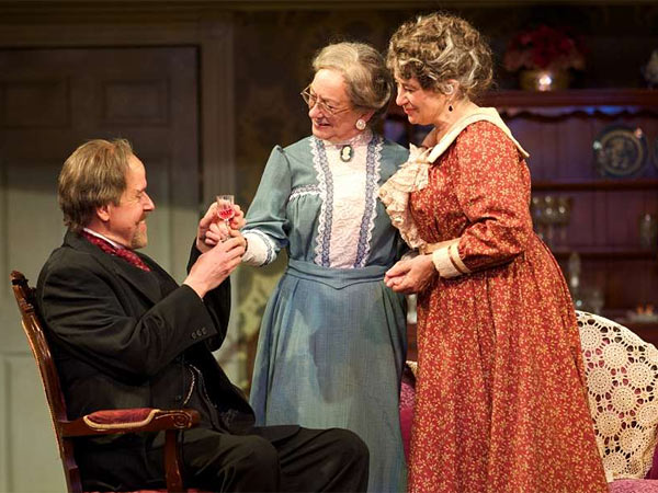 """""""Arsenic and Old Lace"""" stars (from left) Peter Schmitz, Jane Ridley, Mary Martelloat the Walnut. (J. Urdaneta Photography)"""