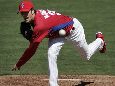 Phillies pitcher Cole Hamels could miss his Opening Day start because of an elbow injury. (Eric Mencher / Staff Photographer)