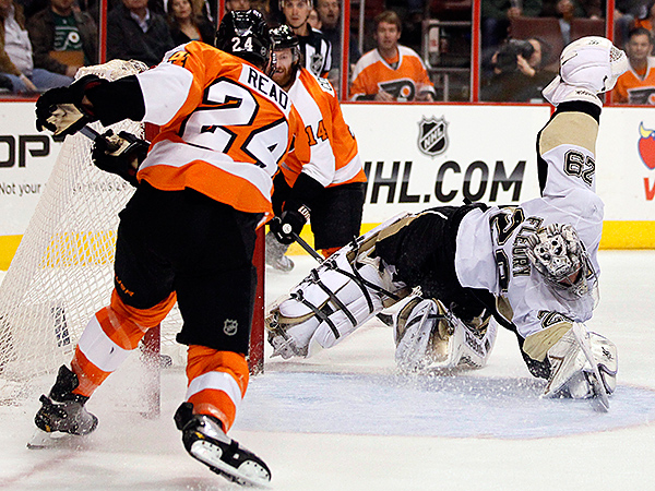 The Flyers, who swept a home-and-home series with the Penguins over the weekend, host the Blackhawks -- another of the league´s top teams -- Tuesday night. (Tom Mihalek/AP)